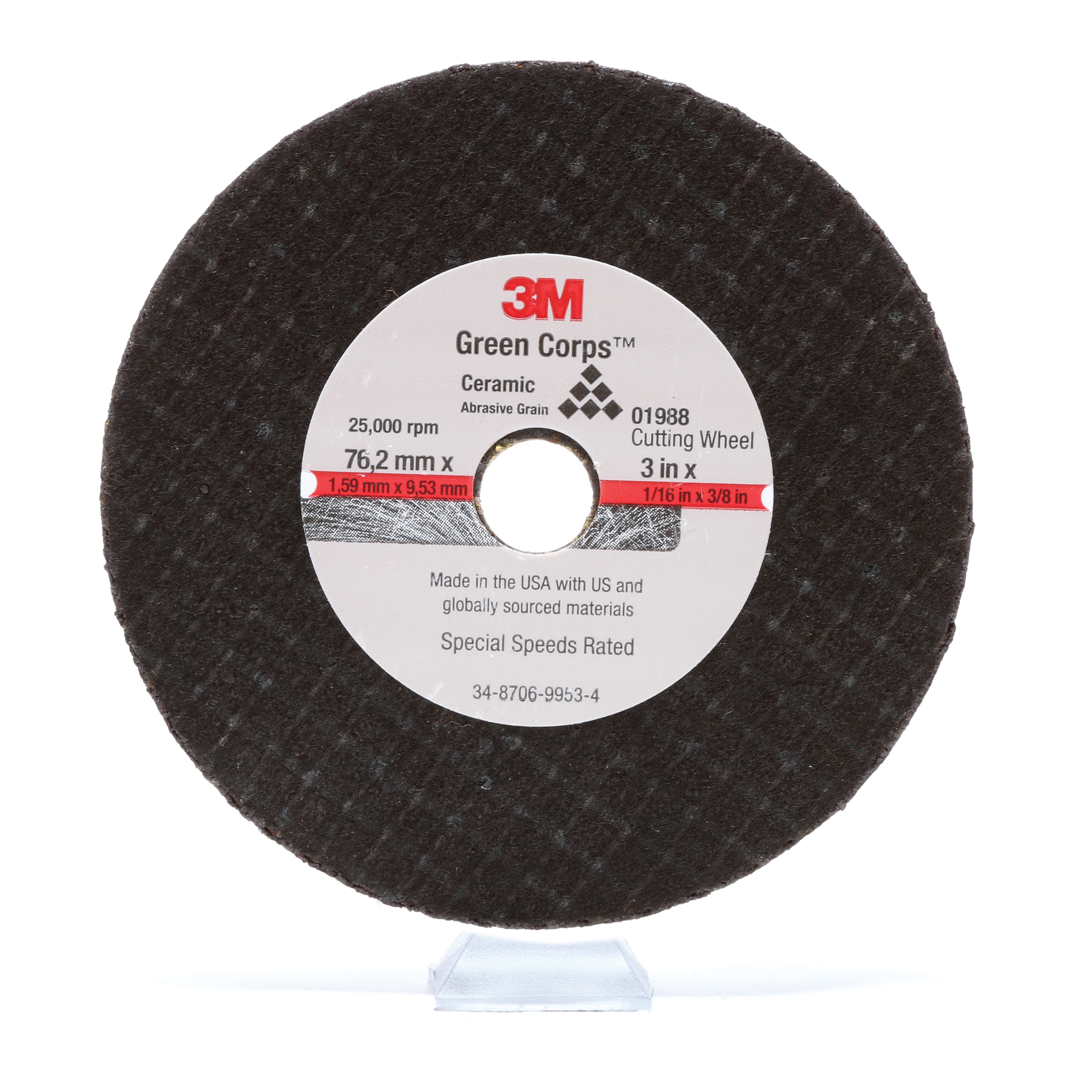 3M™ 051131-01988 Economy Cut-Off Wheel, 3 in Dia x 1/16 in THK, 3/8 in Center Hole, Aluminum Oxide Abrasive