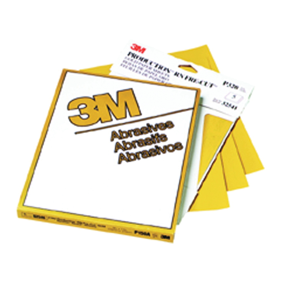 3M™ Production™ Resinite™ 051131-02540 Coated Abrasive Sheet, 11 in L x 9 in W, P360 Grit, Medium Grade, Aluminum Oxide Abrasive, Paper Backing
