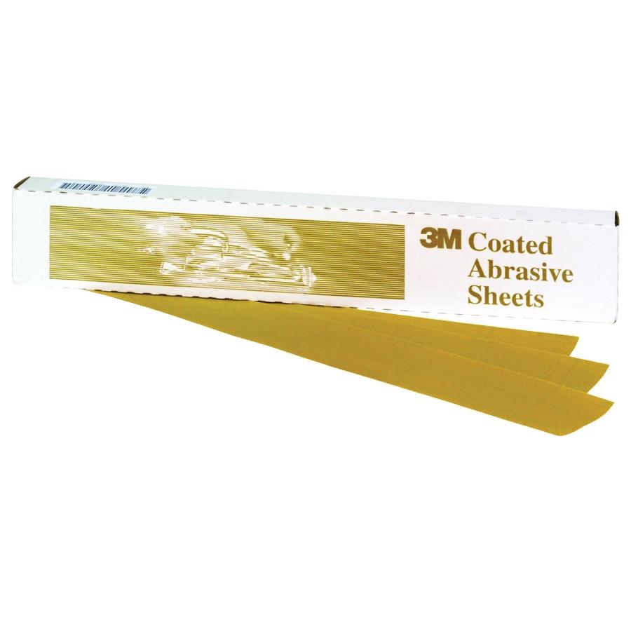 3M™ 051131-02552 216U Clip-On Coated Sanding Sheet, 9 in L x 3-2/3 in W, P220 Grit, Coarse Grade, Aluminum Oxide Abrasive, Paper Backing