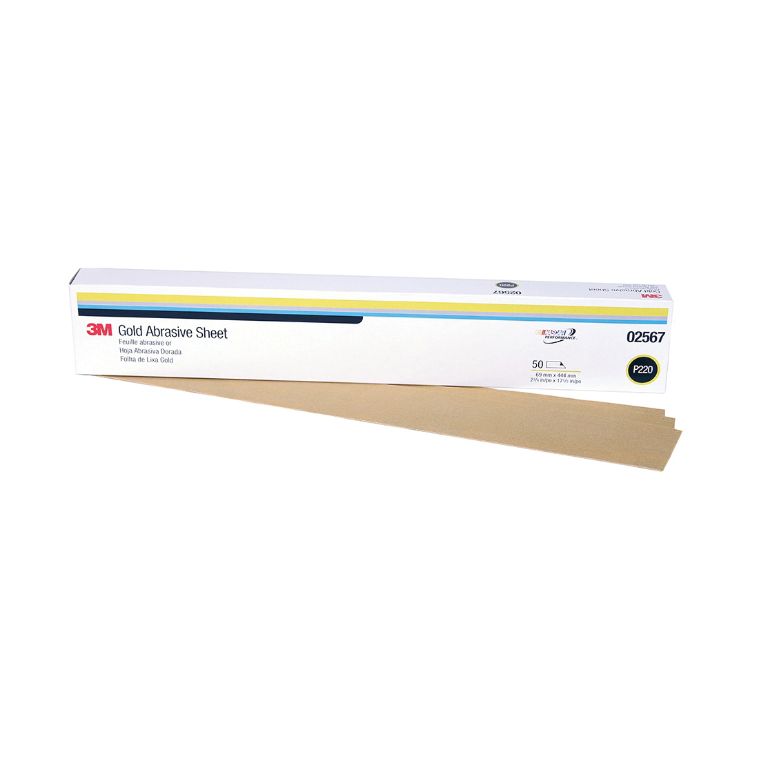 3M™ Production™ Resinite™ 051131-02567 Clip-On Coated Abrasive Sheet, 16-1/2 in L x 2-3/4 in W, P220 Grit, Coarse Grade, Aluminum Oxide Abrasive, Paper Backing