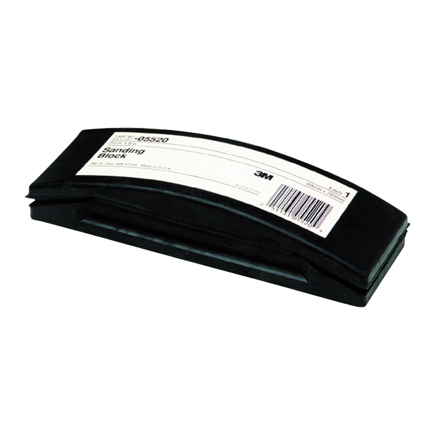 3M™ 051131-05520 Firm Density Sanding Block, 8 in L x 2-3/4 in W, Rubber Abrasive, Clip-On Attachment