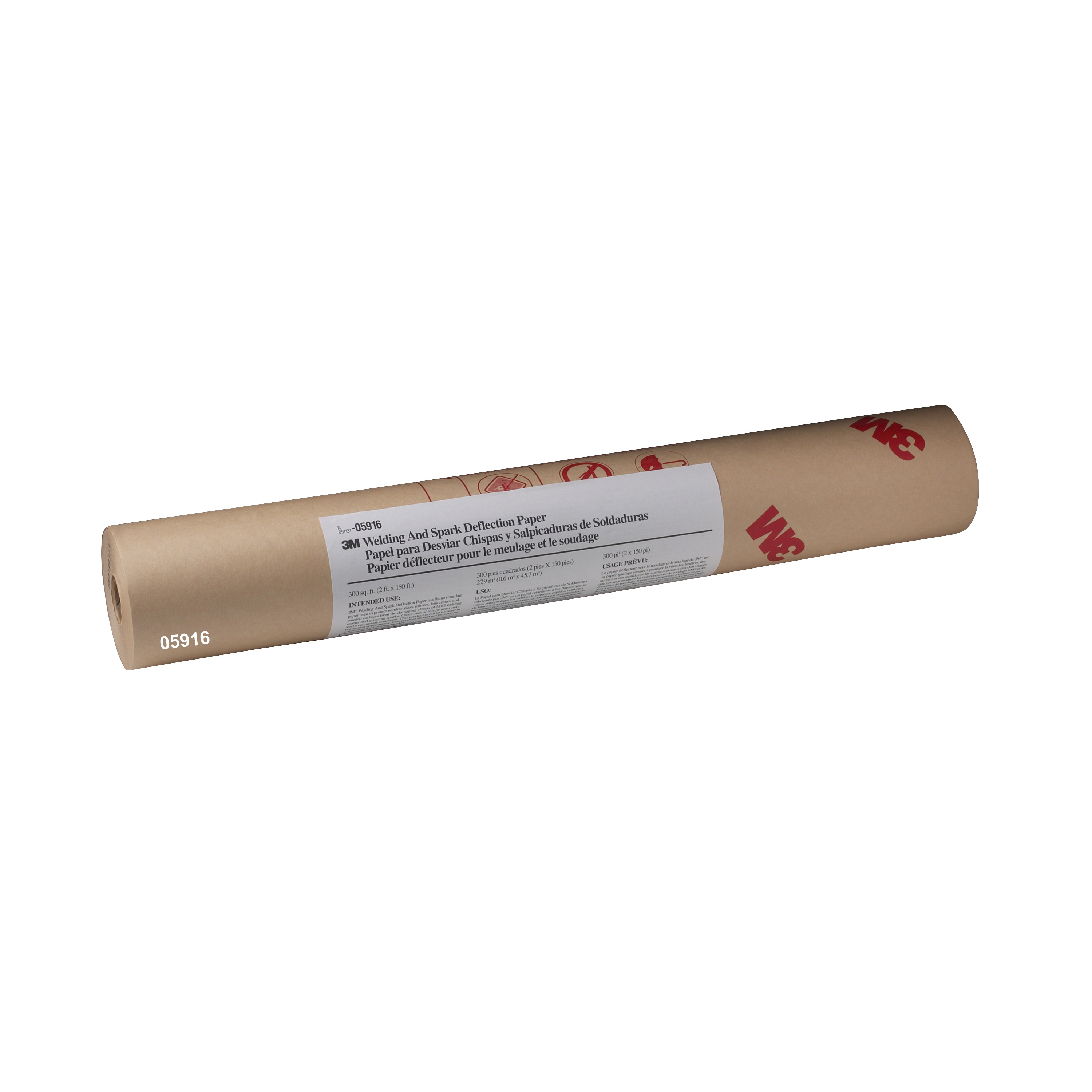 3M™ 051131-05916 Flame Retardant Repositionable Welding and Spark Deflection Paper, 150 ft Roll L x 24 in W, Masking Paper, Brown