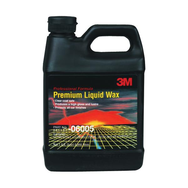 3M™ 051131-06005 Premium Liquid Wax, 1 qt Bottle, Bland Odor/Scent, Pale Green to Yellow, Liquid Form