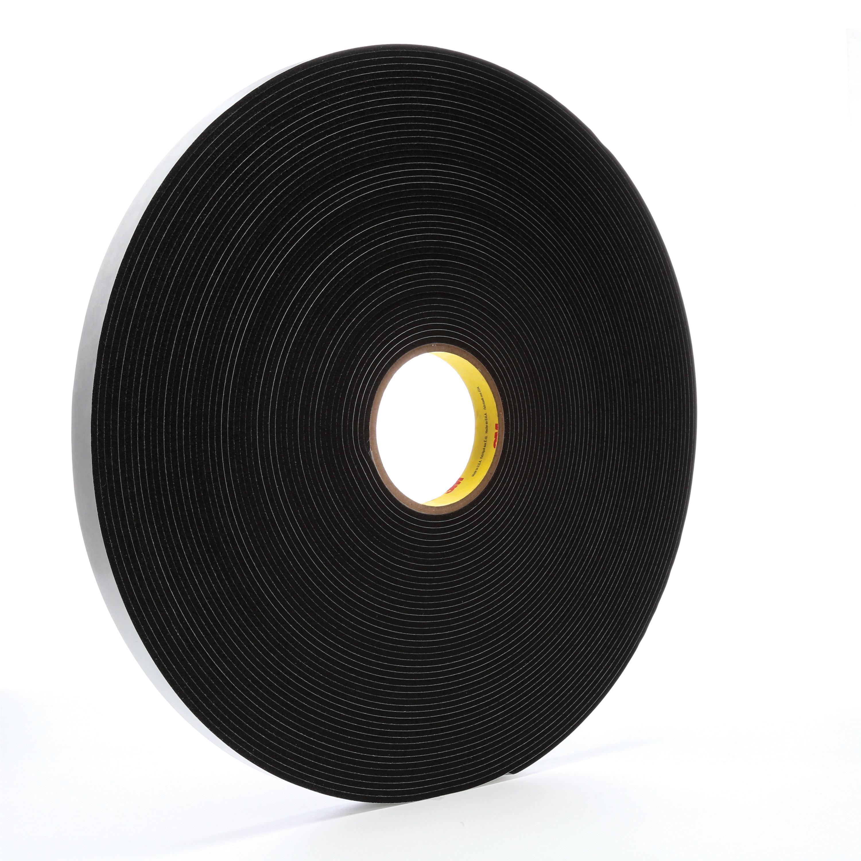 "3M™ 4508-3/4""x36yd Single Coated Foam Tape, 36 yd L x 3/4 in W, 125 mil THK, Acrylic Adhesive, Vinyl Foam Backing, Black"
