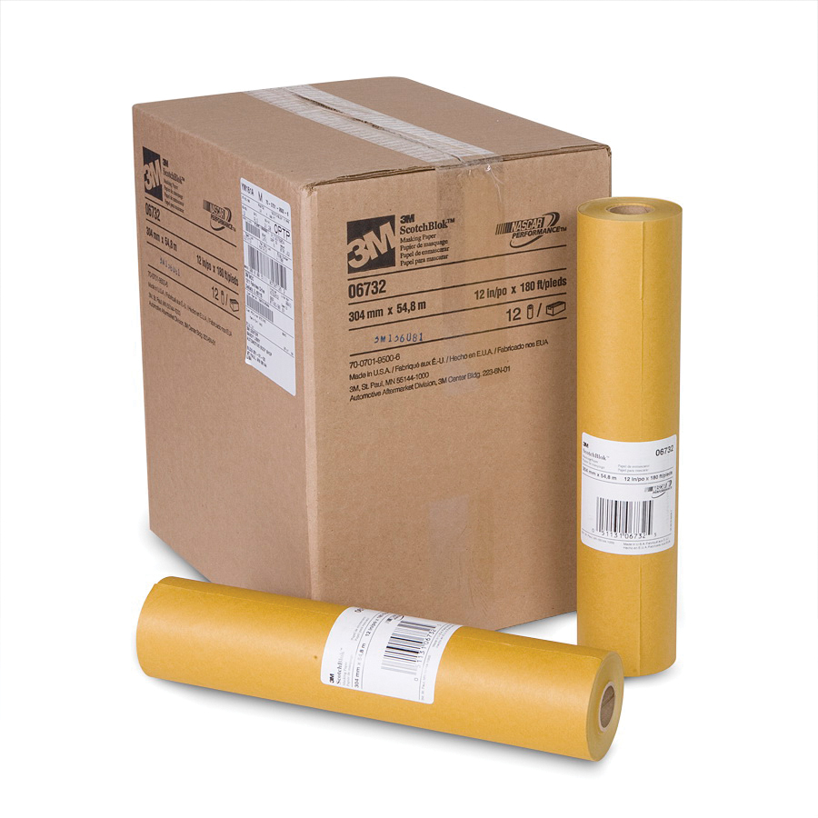 3M™ Scotchblok™ 051131-06732 Masking Paper, 180 ft Roll L x 12 in W x 2 mil THK, Paper, Gold