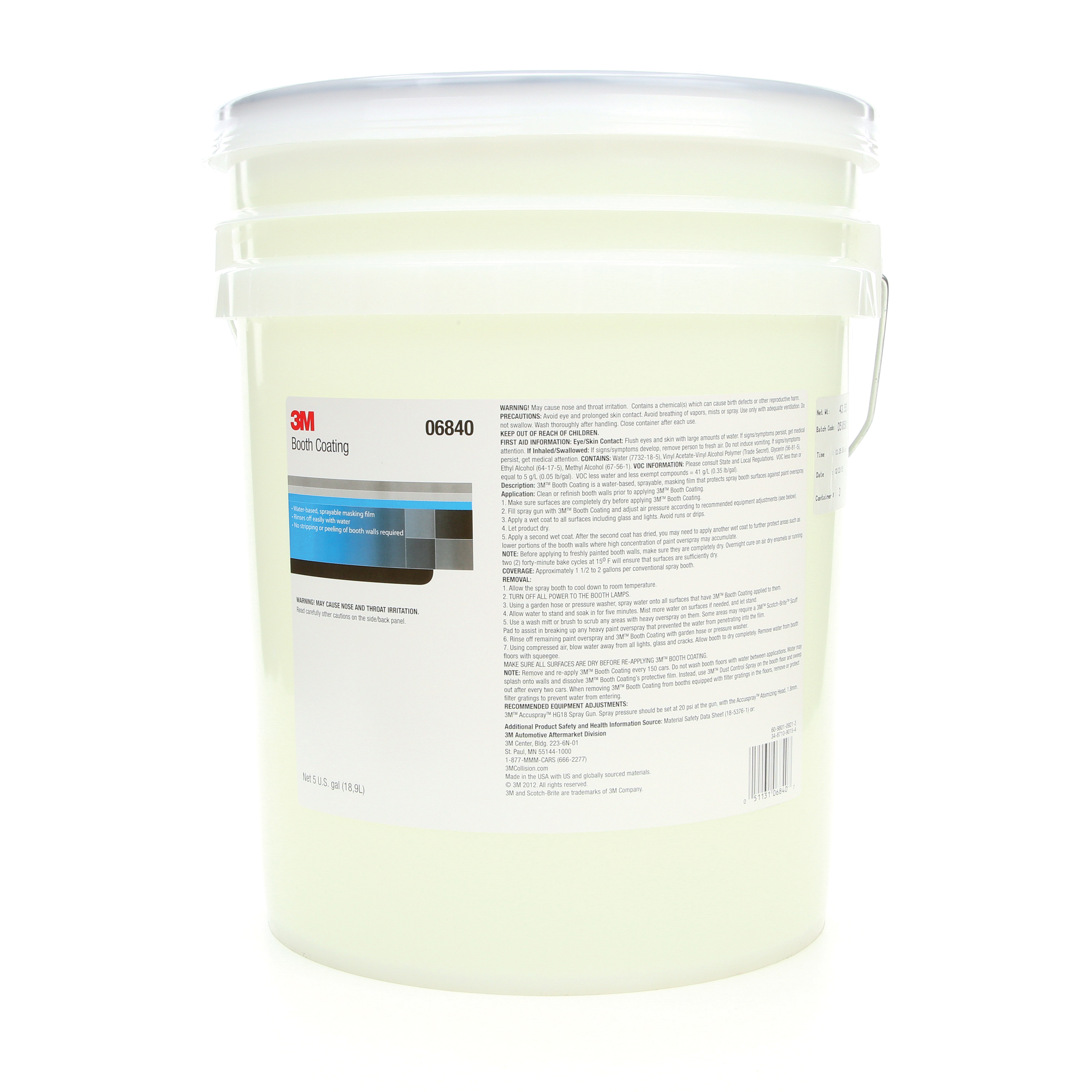3M™ 051131-06840 Water Based Booth Coating, 5 gal Container, Liquid Form, Clear