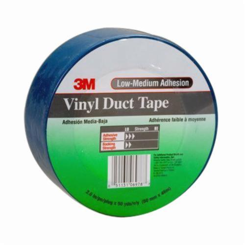 3M™ 051131-06978 General Purpose Duct Tape, 50 yd L x 2 in W, 6.5 mil THK, Rubber Adhesive, Embossed Vinyl Backing, Blue