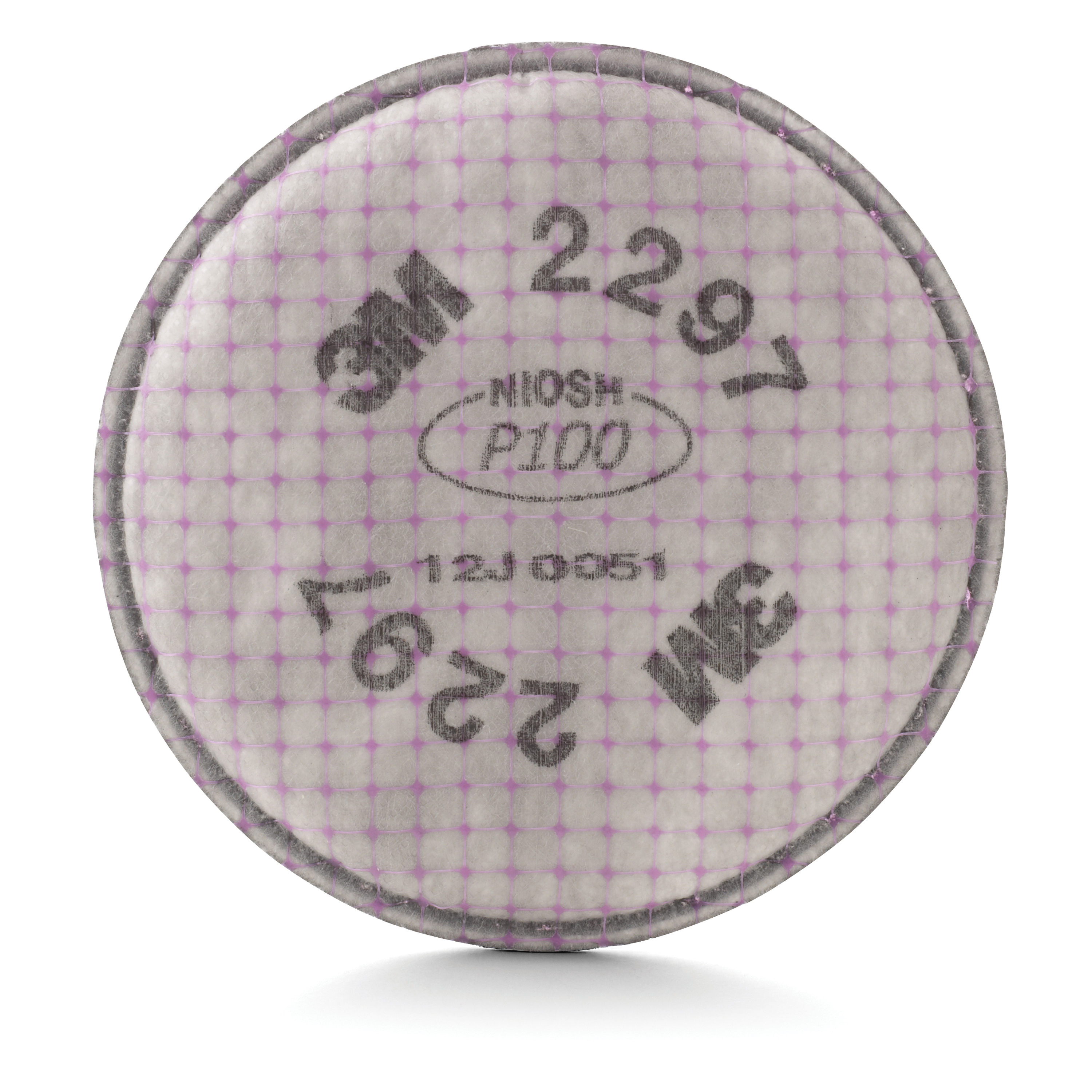 3M™ 051131-17172 2297 Particulate Filter, For Use With 3M™ 5000 and 6000 Series Reusable Respirators, P100 Filter Class, 0.9997 Filter Efficiency, Bayonet Connection, Magenta/Gray, Resists: Non-Oil Based Particulates and Nuisance Organic Vapors