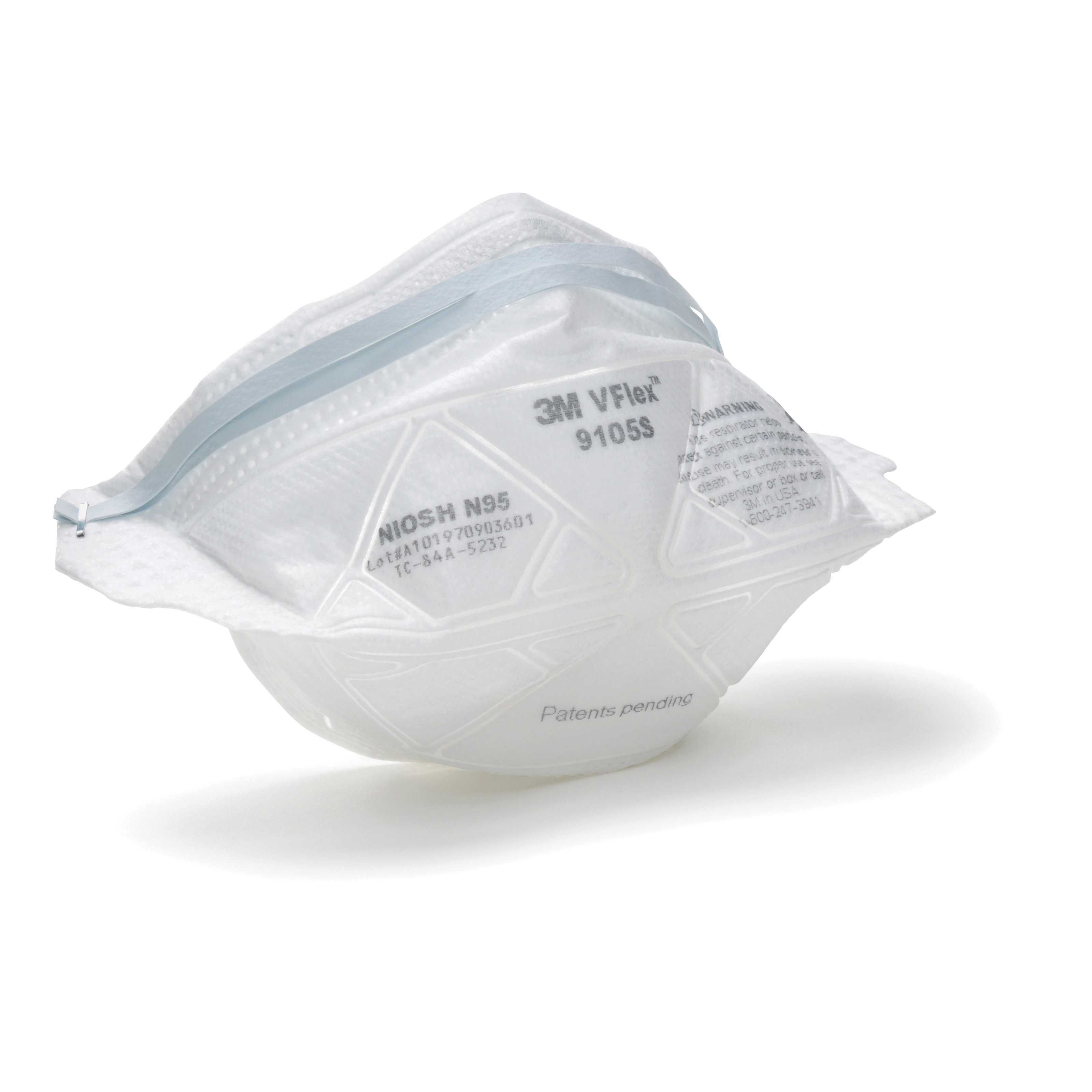 3M™ VFlex™ 051131-17394 Disposable Flat Fold Particulate Respirator, S, Resists: Certain Non-Oil Based Particles, Airborne Contaminants, Dust and other Particles