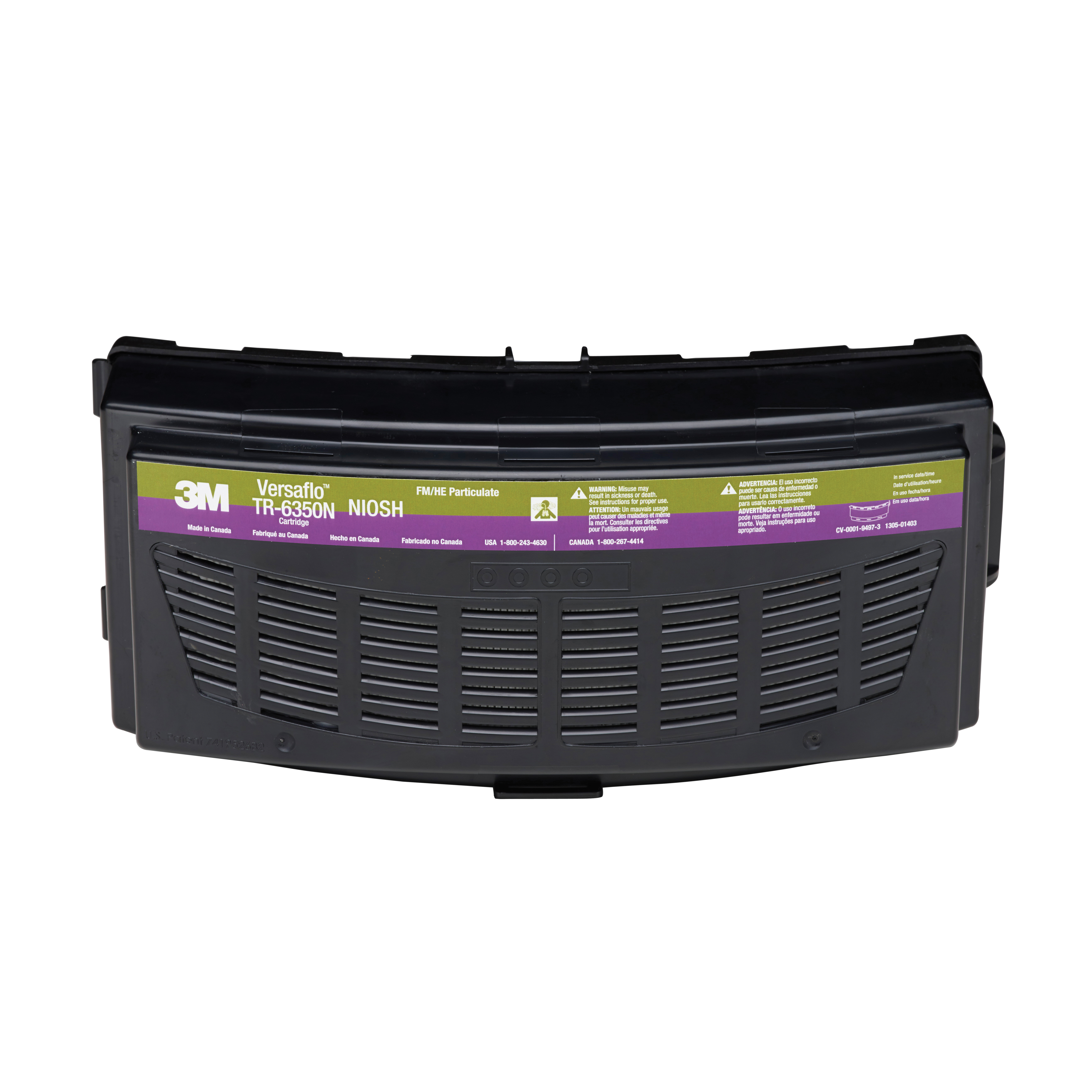 3M™ 051131-37365 TR Series Respirator HEPA Cartridge, For Use With Versaflo™ TR-600/800 Series PAPRs