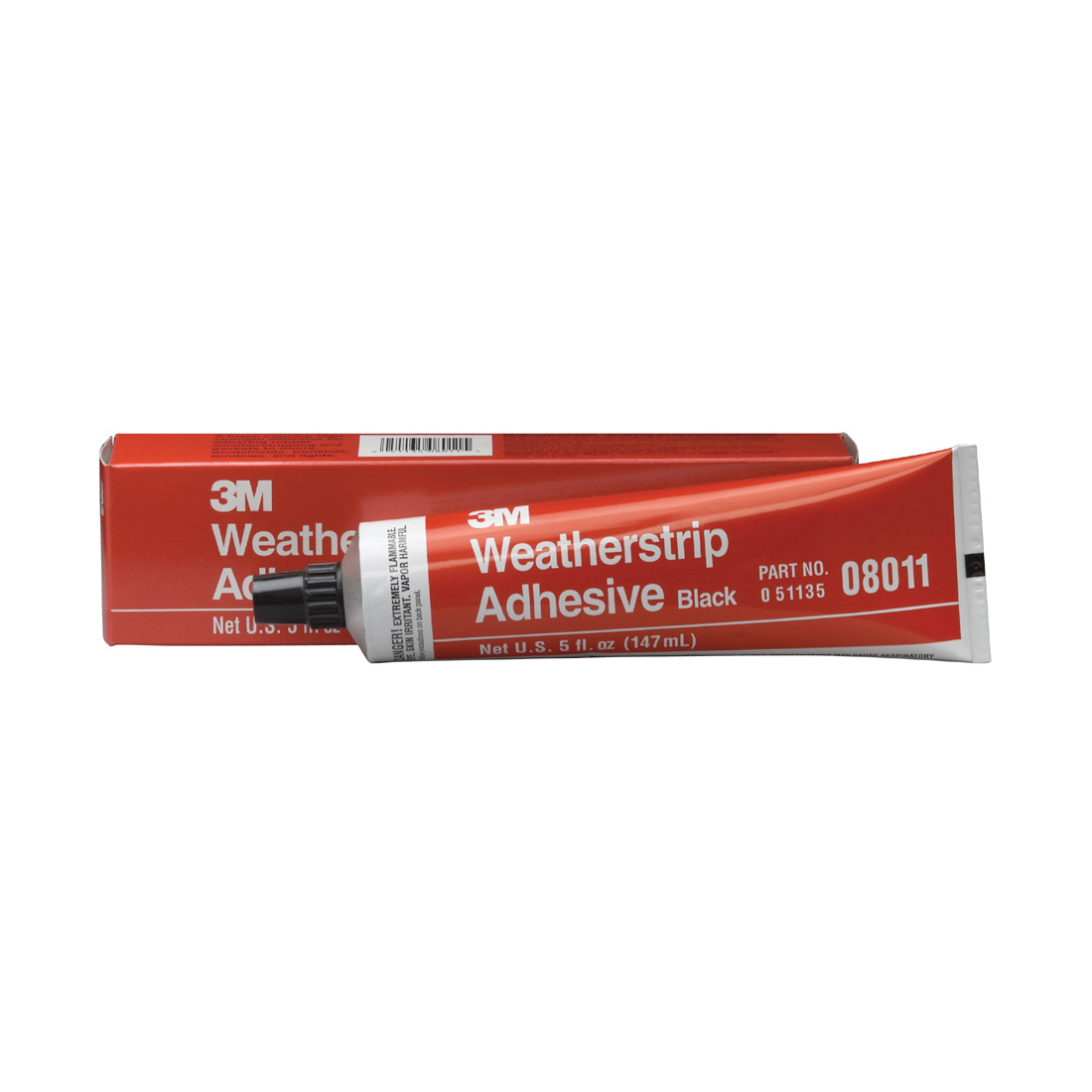 3M™ 051135-08011 Fast Drying Flexible Waterproof Weatherstrip Adhesive, 5 oz Tube, Black, 24 hr Curing