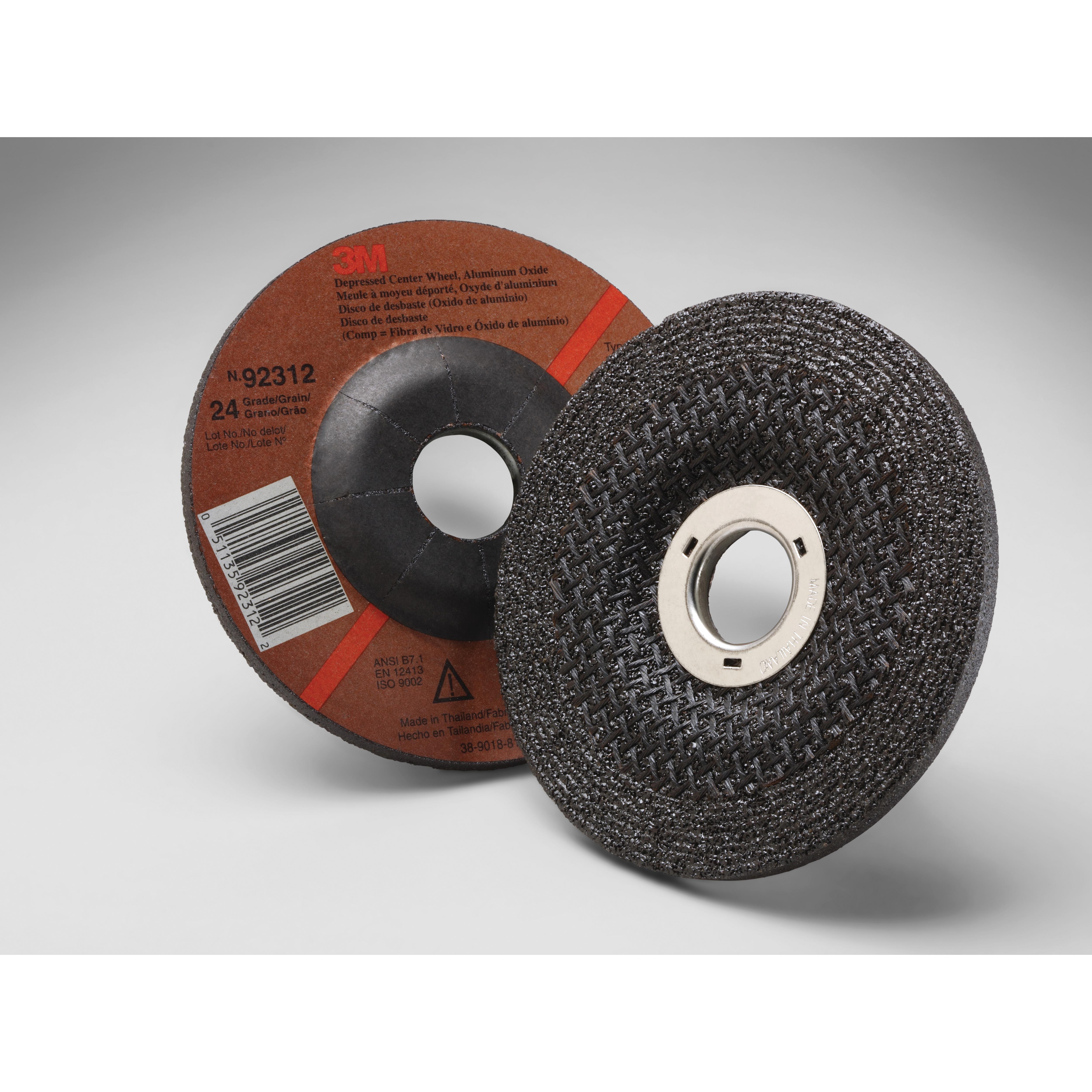 3M™ 051135-92312 General Purpose Depressed Center Wheel, 4-1/2 in Dia x 1/4 in THK, 7/8 in Center Hole, 24 Grit, Aluminum Oxide Abrasive