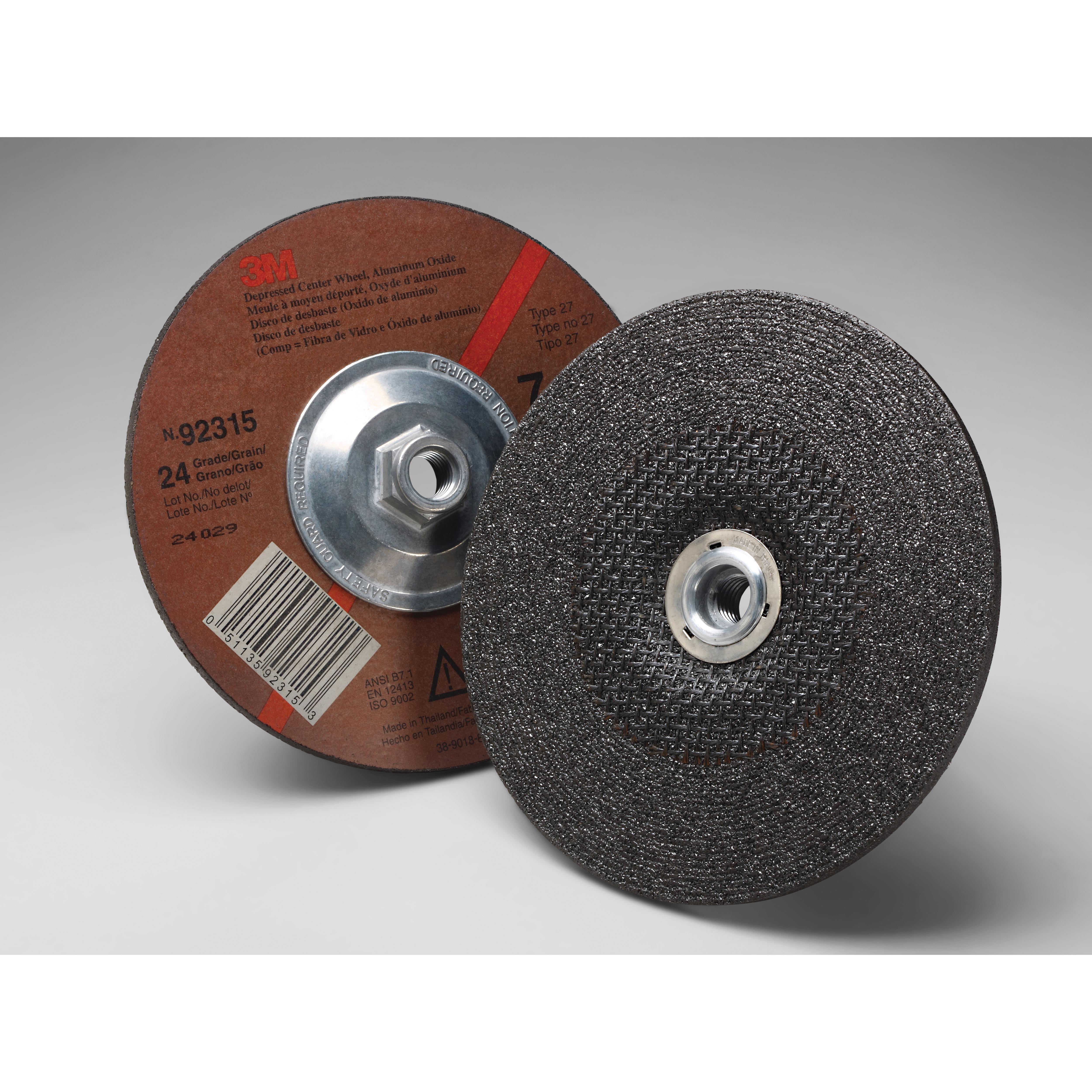 3M™ 051135-92315 General Purpose Depressed Center Wheel, 7 in Dia x 1/4 in THK, 24 Grit, Aluminum Oxide Abrasive