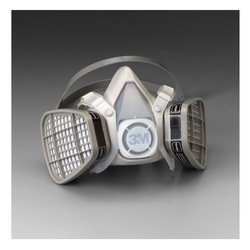 3M™ 051138-21565 5101 5000 Disposable Half Facepiece Respirator Assembly, S, Resists: Acid Gas, Chlorine, Hydrogen Chloride, Hydrogen Fluoride, Hydrogen Sulfide, Organic Vapors and Sulfur Dioxide