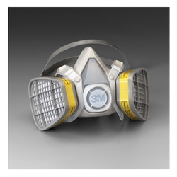 3M™ 051138-21567 5103 5000 Disposable Half Facepiece Respirator Assembly, S, Resists: Acid Gas, Chlorine, Hydrogen Chloride, Hydrogen Fluoride, Hydrogen Sulfide, Organic Vapors and Sulfur Dioxide