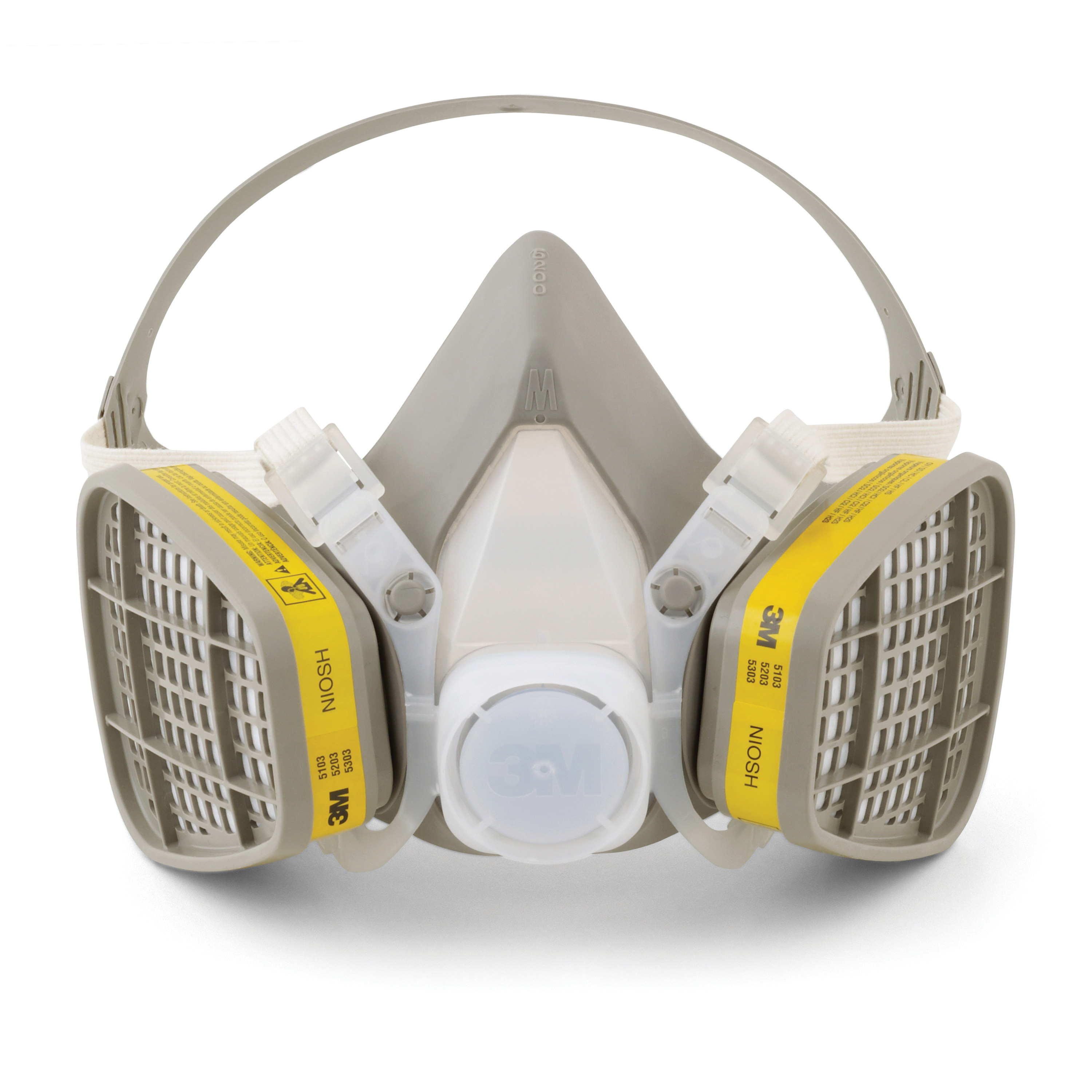 3M™ 051138-21573 5203 5000 Disposable Half Facepiece Respirator Assembly, M, Resists: Acid Gas, Chlorine, Hydrogen Chloride, Hydrogen Fluoride, Hydrogen Sulfide, Organic Vapors and Sulfur Dioxide