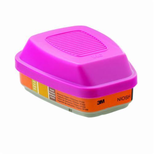 3M™ 051138-46471 Cartridge, For Use With 6000, 7000 Series Full Facepiece Respirator and 6000, 7000 Series Half Facepiece Respirator, P100, Magenta/Orange