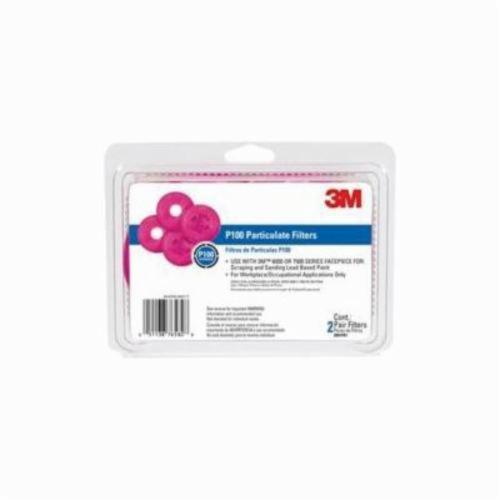 3M™ 051138-76582 Particulate Filter, For Use With 6000, 7000, 7500 Series Half or Full Facepieces Respirator, P100, 0.997 Filter Efficiency, Multi-Color, Resists: Airborne Particles and Oils
