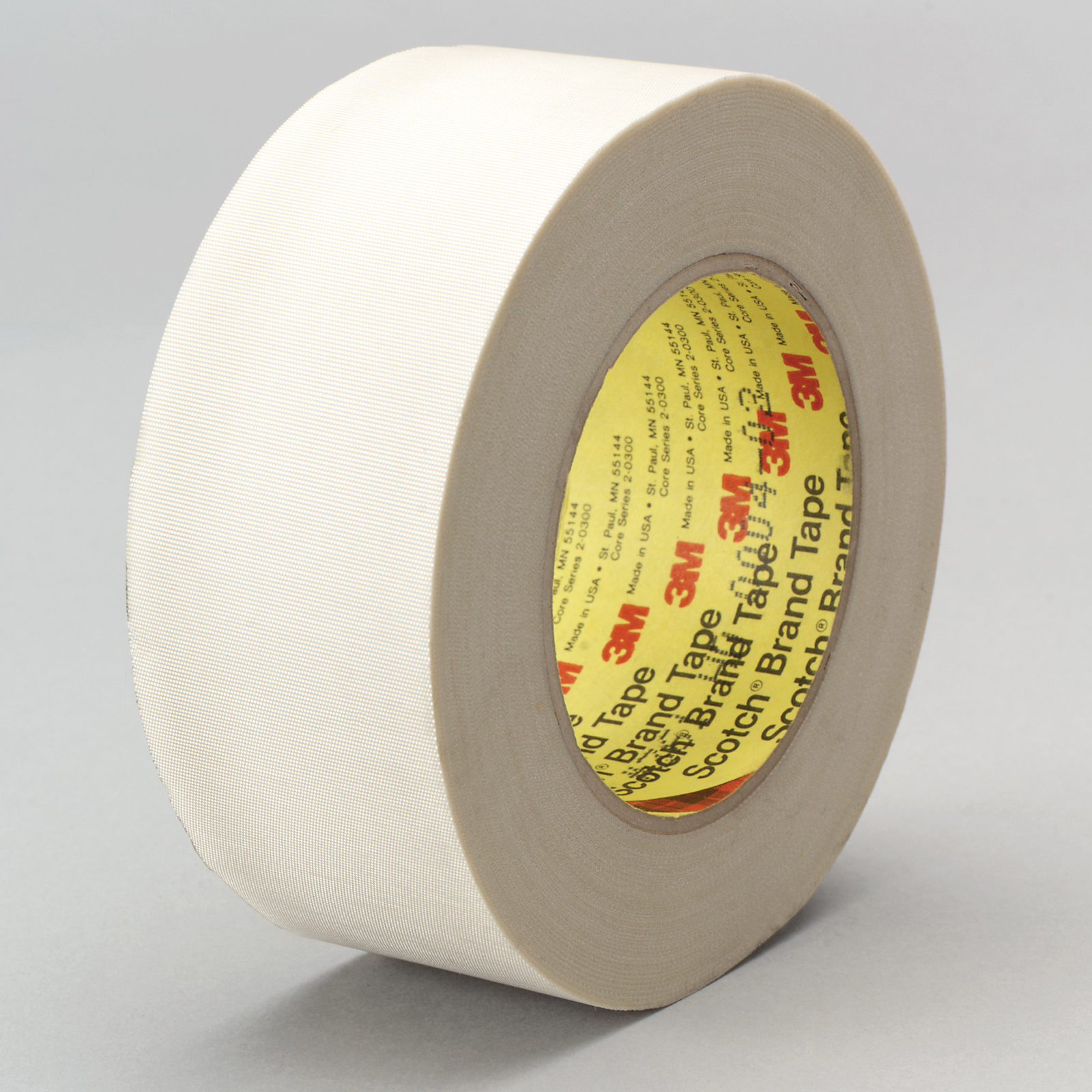 3M™ 021200-07116 Cloth Tape, 60 yd L x 1/2 in W, 6.4 mil THK, Silicone Adhesive, Glass Cloth Backing, White