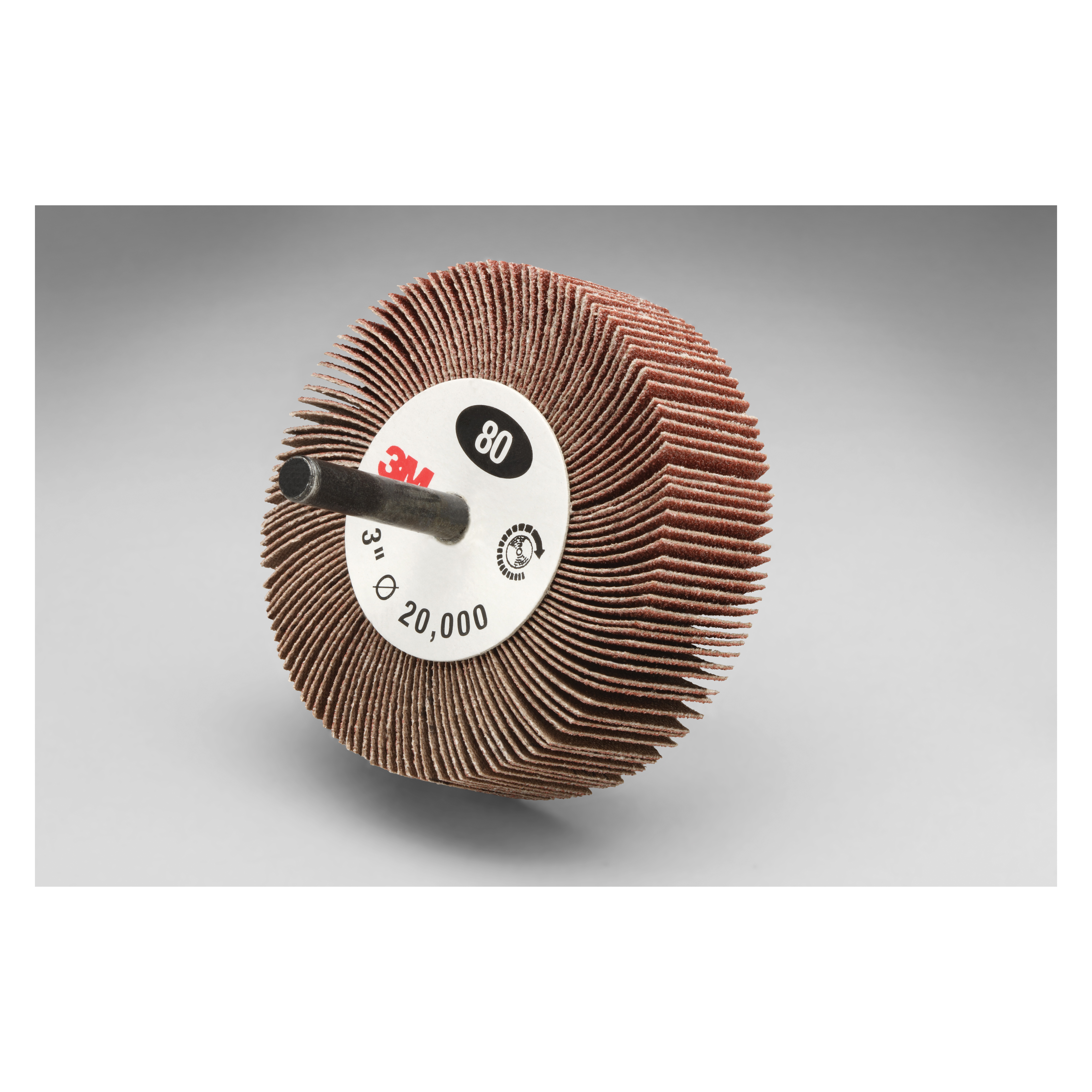 3M™ 051144-14656 Type 83 Mounted Coated Flap Wheel, 3 in Dia, 1 in W Face, 1/4 in Dia Shank, 80 Grit, Medium Grade, Aluminum Oxide Abrasive