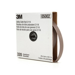 3M™ 05002 Utility Closed Coated Abrasive Roll, 50 yd L x 1 in W, 320 Grit, Extra Fine Grade, Aluminum Oxide Abrasive, Cloth Backing