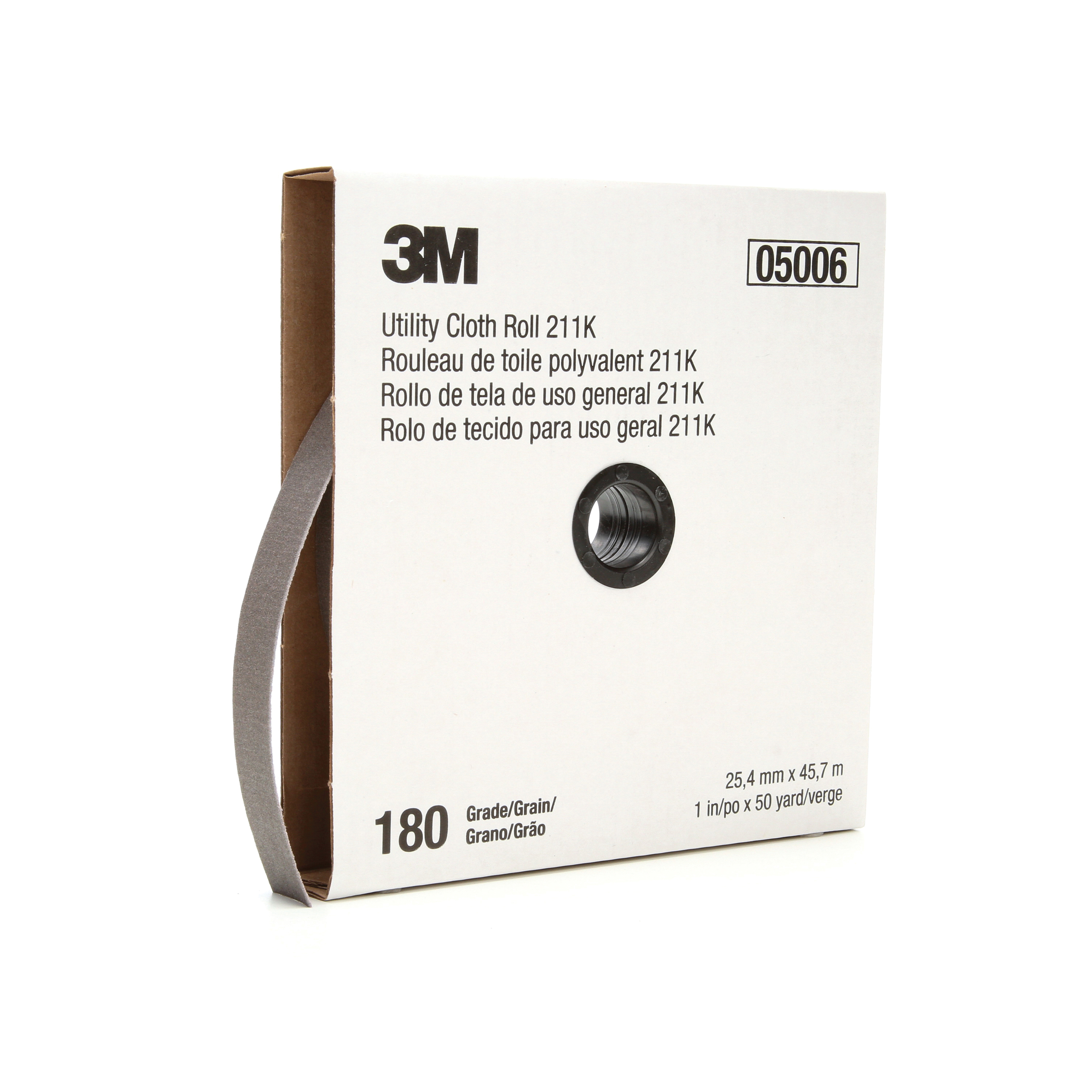 3M™ 051144-05006 Utility Cloth Roll, 1 in W x 50 yd L, 180 Grit, Very Fine Grade, Aluminum Oxide Abrasive, Cloth Backing