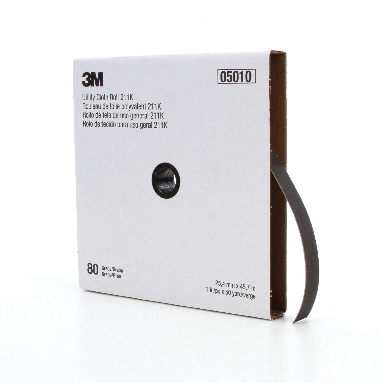 3M™ 051144-05010 Utility Cloth Roll, 1 in W x 50 yd L, 80 Grit, Medium Grade, Aluminum Oxide Abrasive, Cloth Backing