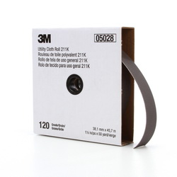 3M™ 05028 Utility Closed Coated Abrasive Roll, 50 yd L x 1-1/2 in W, 120 Grit, Fine Grade, Aluminum Oxide Abrasive, Cloth Backing