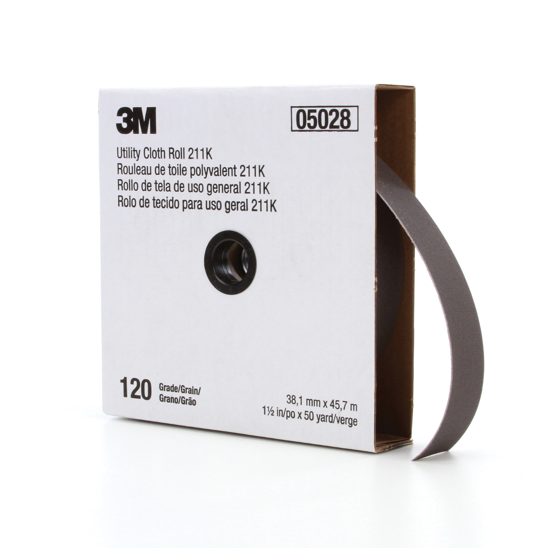 3M™ 051144-05028 Utility Cloth Roll, 1-1/2 in W x 50 yd L, 120 Grit, Fine Grade, Aluminum Oxide Abrasive, Cloth Backing