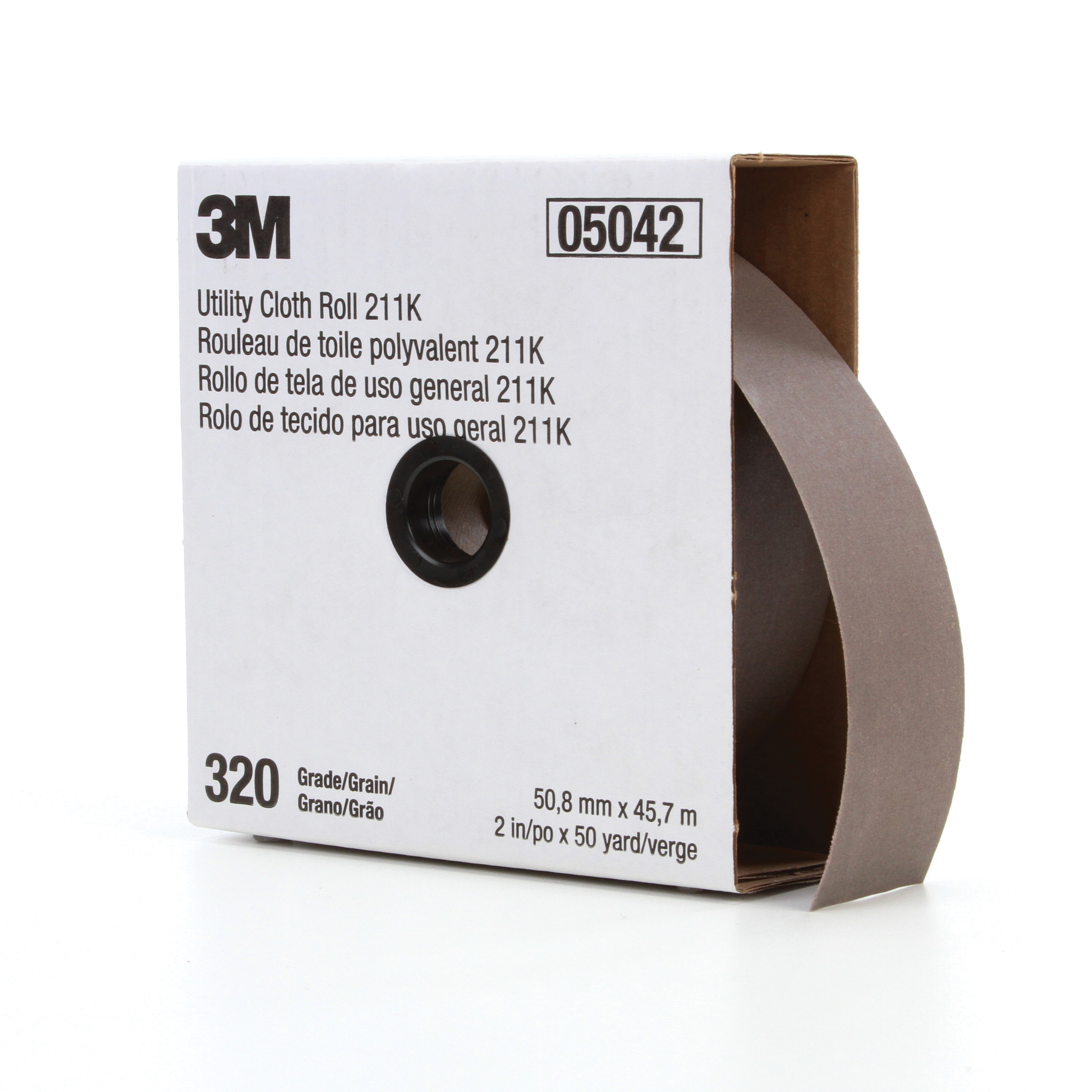 3M™ 051144-05042 Utility Cloth Roll, 2 in W x 50 yd L, 320 Grit, Extra Fine Grade, Aluminum Oxide Abrasive, Cloth Backing