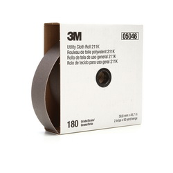 3M™ 05046 Lightweight Utility Closed Coated Abrasive Roll, 50 yd L x 2 in W, 180 Grit, Very Fine Grade, Aluminum Oxide Abrasive, Cloth Backing