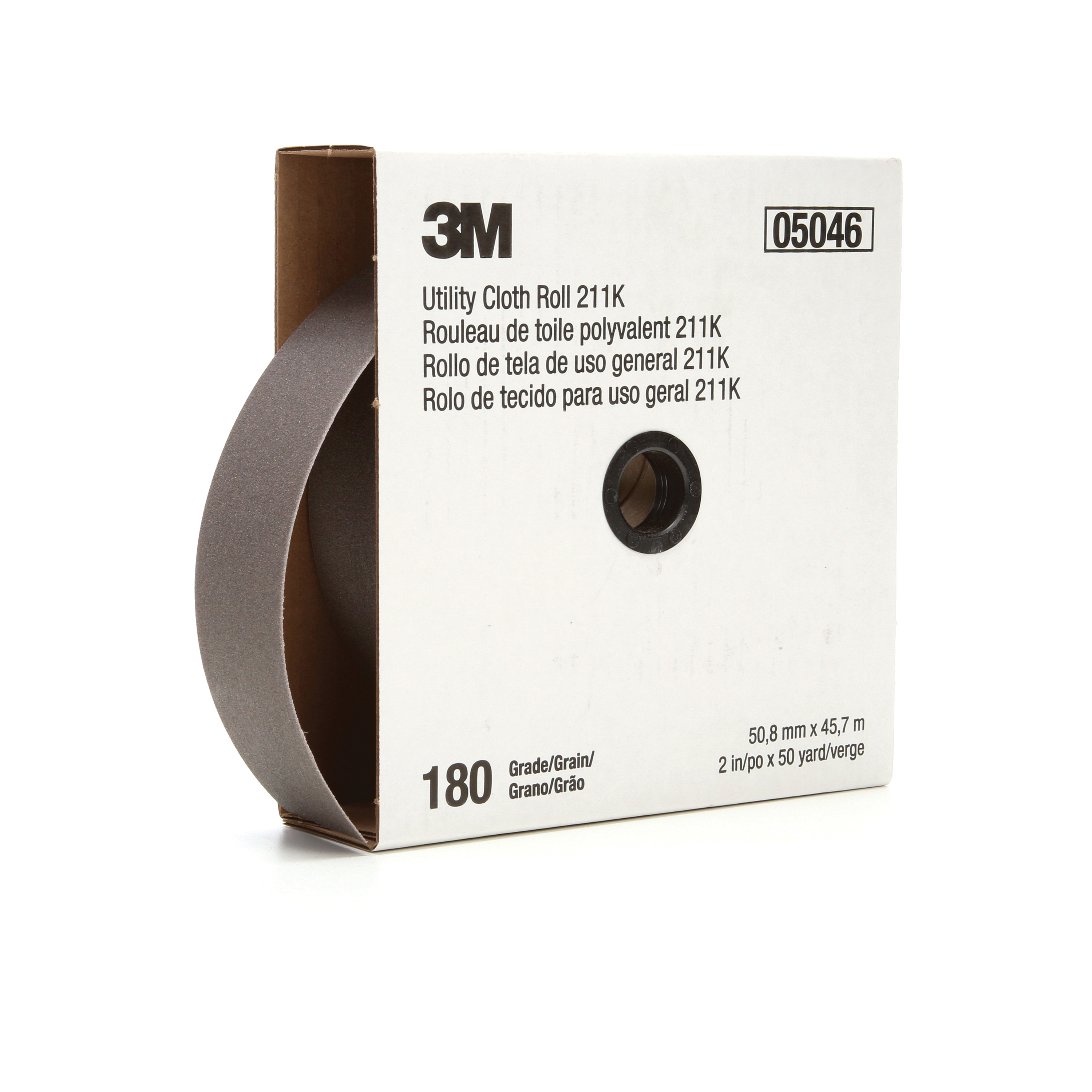 3M™ 051144-05046 Utility Cloth Roll, 2 in W x 50 yd L, 180 Grit, Very Fine Grade, Aluminum Oxide Abrasive, Cloth Backing