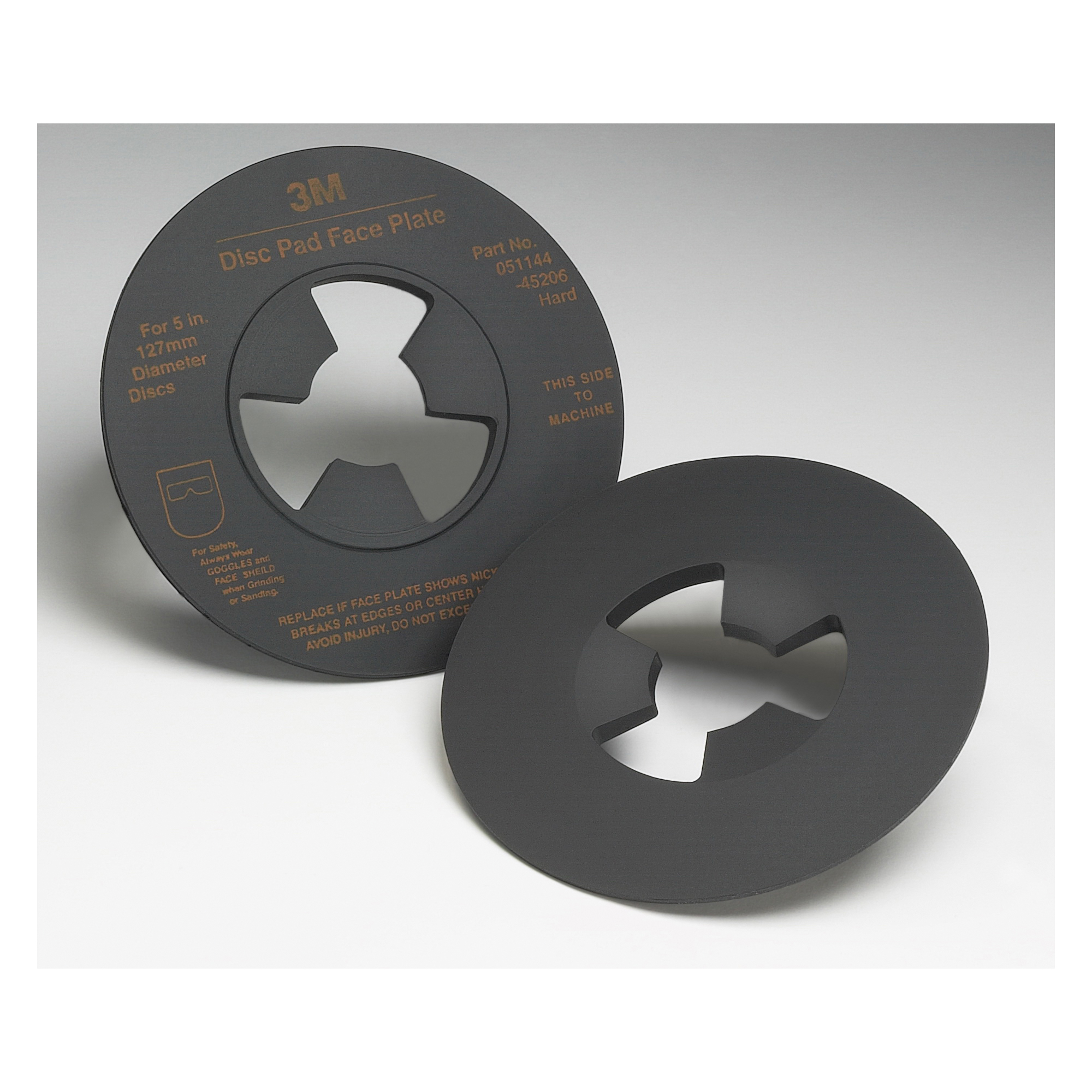 3M™ 051144-14270 Hard Density Smooth Disc Pad Face Plate, 4-1/2 in W/Dia, For Use With 2-1/2 in Disc Pad Hub, Right Angle Grinders and Rotary Sanders
