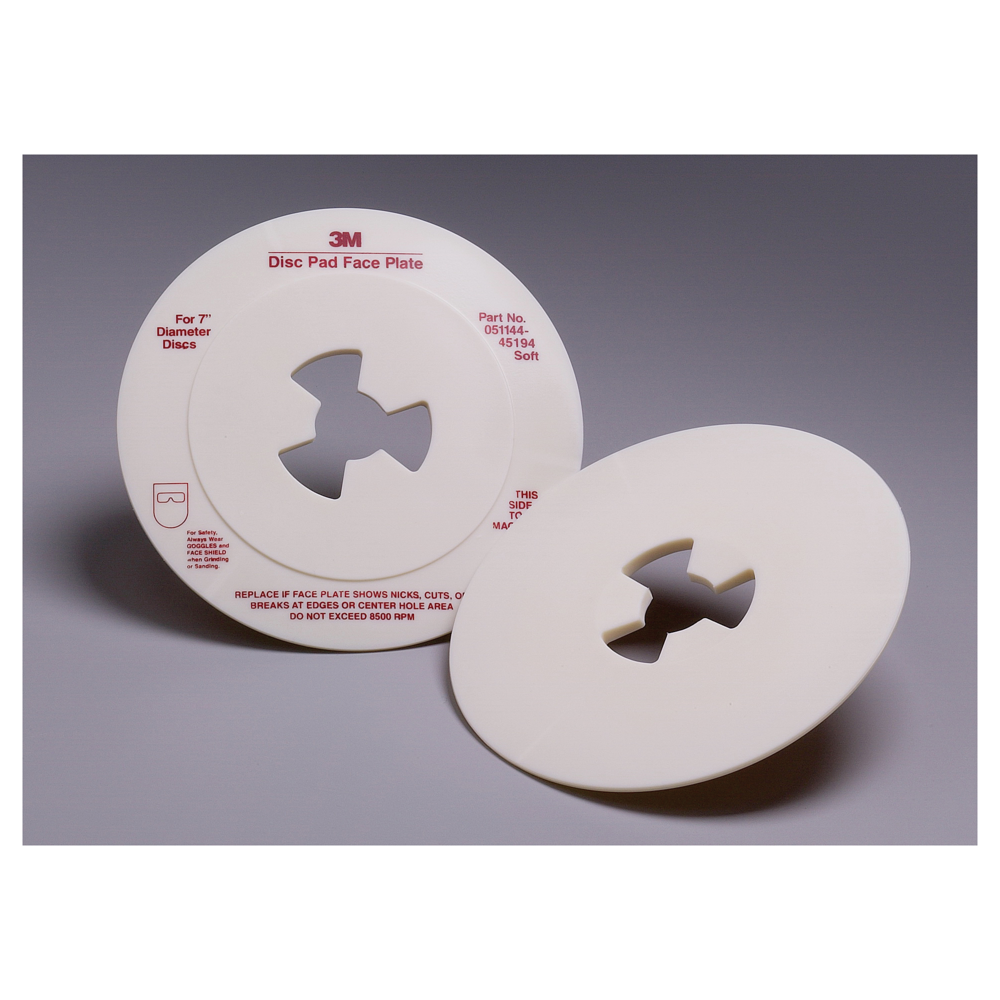 3M™ 051144-45194 Smooth Soft Density Disc Pad Face Plate, 7 in, For Use With 3M™ Disc Pad Hub, Right Angle Grinder and Rotary Sander