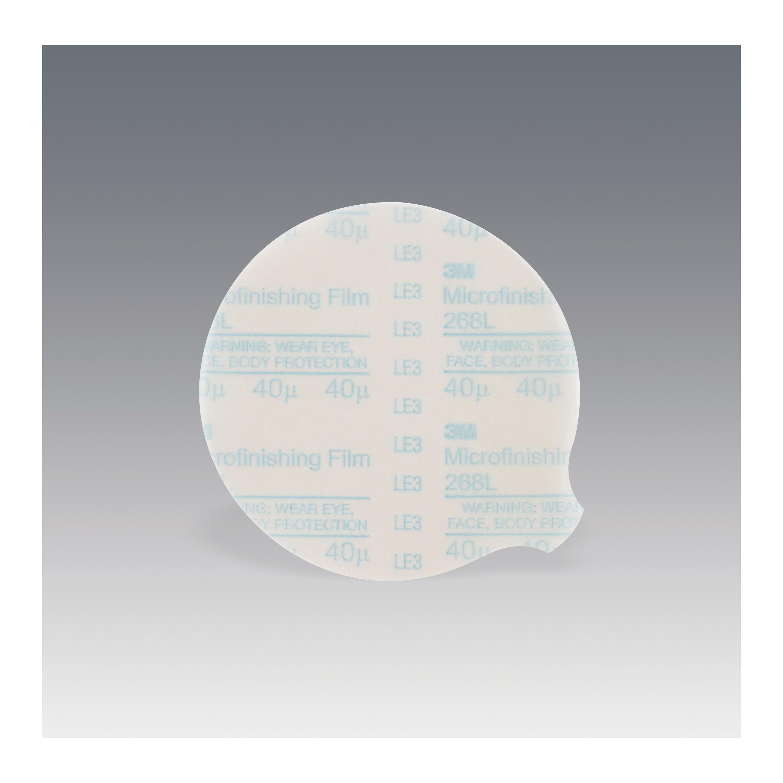 3M™ 051144-76974 268L Type D Microfinishing PSA Carbide Burr, 5 in Dia Disc, 40 micron Grit, Extra Fine Grade, Aluminum Oxide Abrasive, Polyester Film Backing