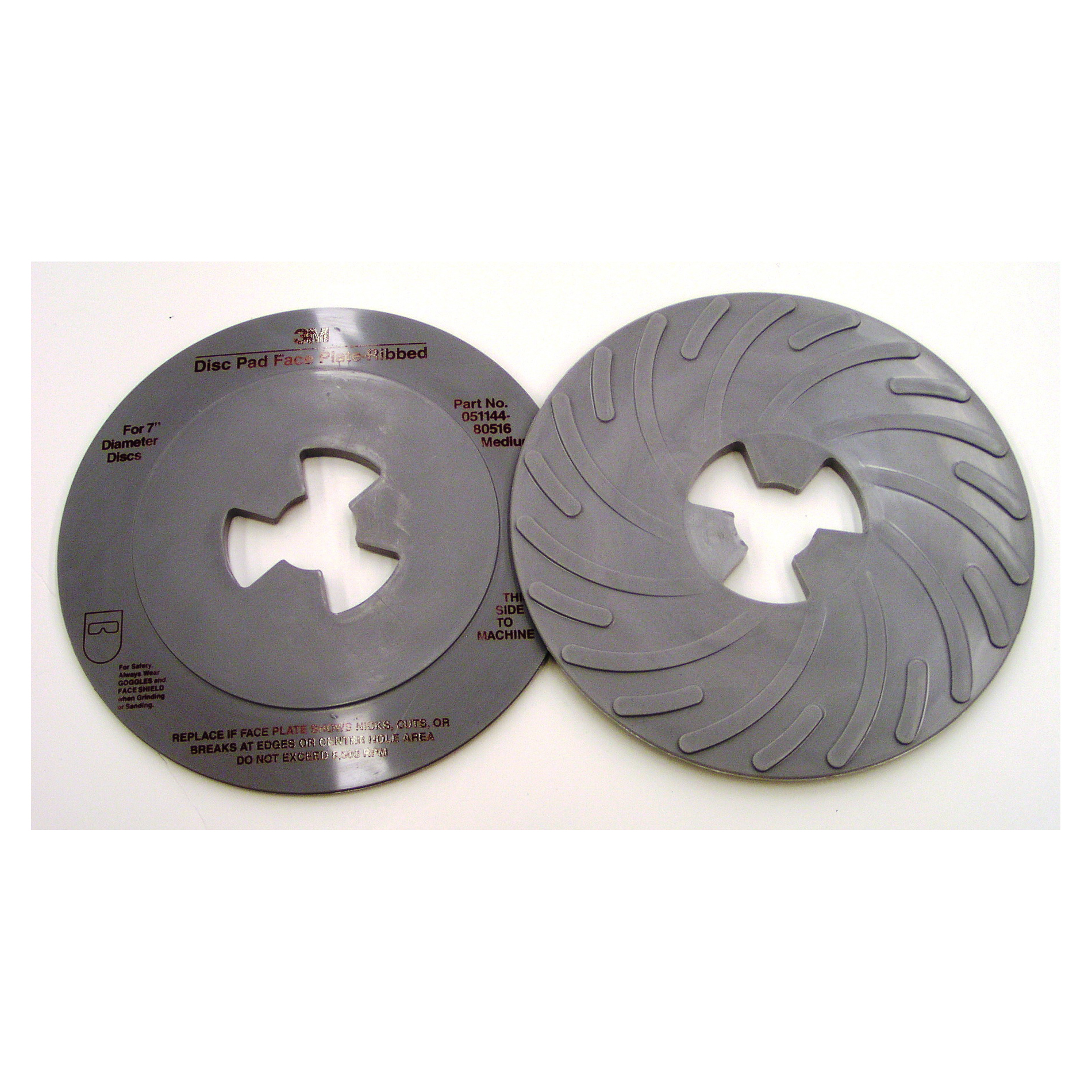 3M™ 051144-80516 Medium Density Ribbed Disc Pad Face Plate, 7 in, For Use With 3M™ Disc Pad Hub, Right Angle Grinder and Rotary Sander