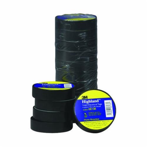 Highland™ 054007-06138 1-Sided Flame Retardant Insulating Tape, 66 ft L x 3/4 in W, 7 mil THK, Vinyl Backing, Black