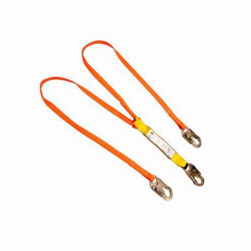 3M™ 078371-00038 SafeAbsorb Mid Range Energy Absorbing Lanyard, 310 lb Load Capacity, 6 ft L, Polyester Line, 2 Legs, Locking Snap Hook Anchorage Connection, Locking Snap Hook Harness Connection Hook, Specifications Met: ANSI Z359.13-2009