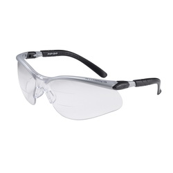 3M™ BX™ 078371-11457 11457-00000-20 Bi-Focal Lens Reader Protective Eyewear, 1.5 Diopter, Clear Lens, Black/Silver Plastic Frame, Polycarbonate Lens, 99.9% UV Protection, Specifications Met: ANSI Z87.1-2015, CSA Z94.3-2007