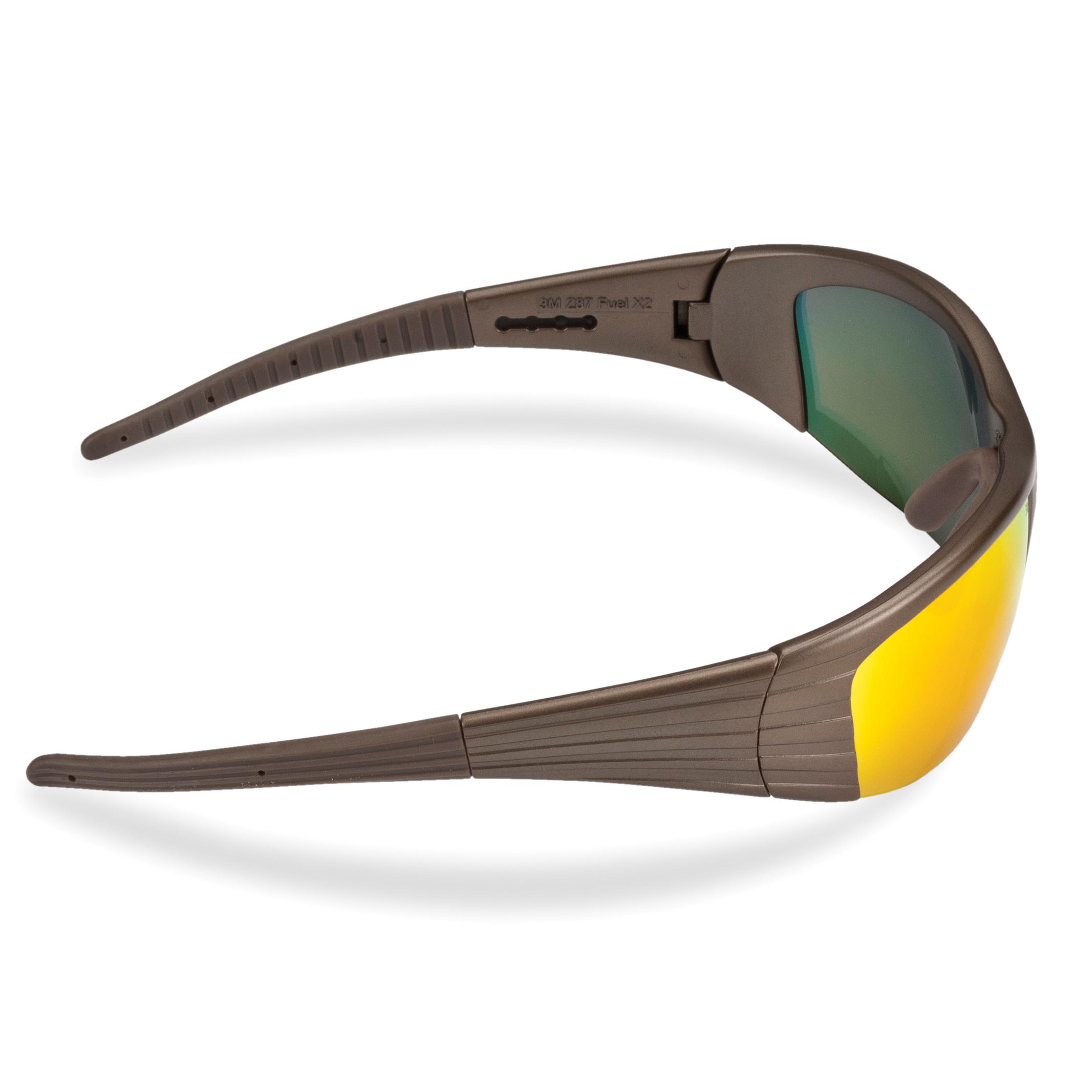 3M™ Fuel™ 078371-11635 11635-00000-10 X2 Premium Protective Eyewear, Anti-Scratch Red Mirror Lens, Half Framed Dark Copper Plastic Frame, Polycarbonate Lens, Specifications Met: ANSI Z87.1-2015