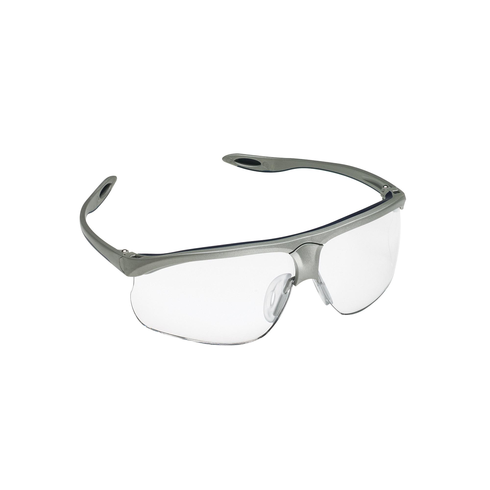 3M™ Maxim™ 078371-62245 Sport Value Range Protective Glasses, Anti-Fog/Anti-Scratch, Clear Lens, Half Framed Frame, Blue/Silver, Plastic Frame, Polycarbonate Lens, ANSI Z87.1, CSA Z94.3