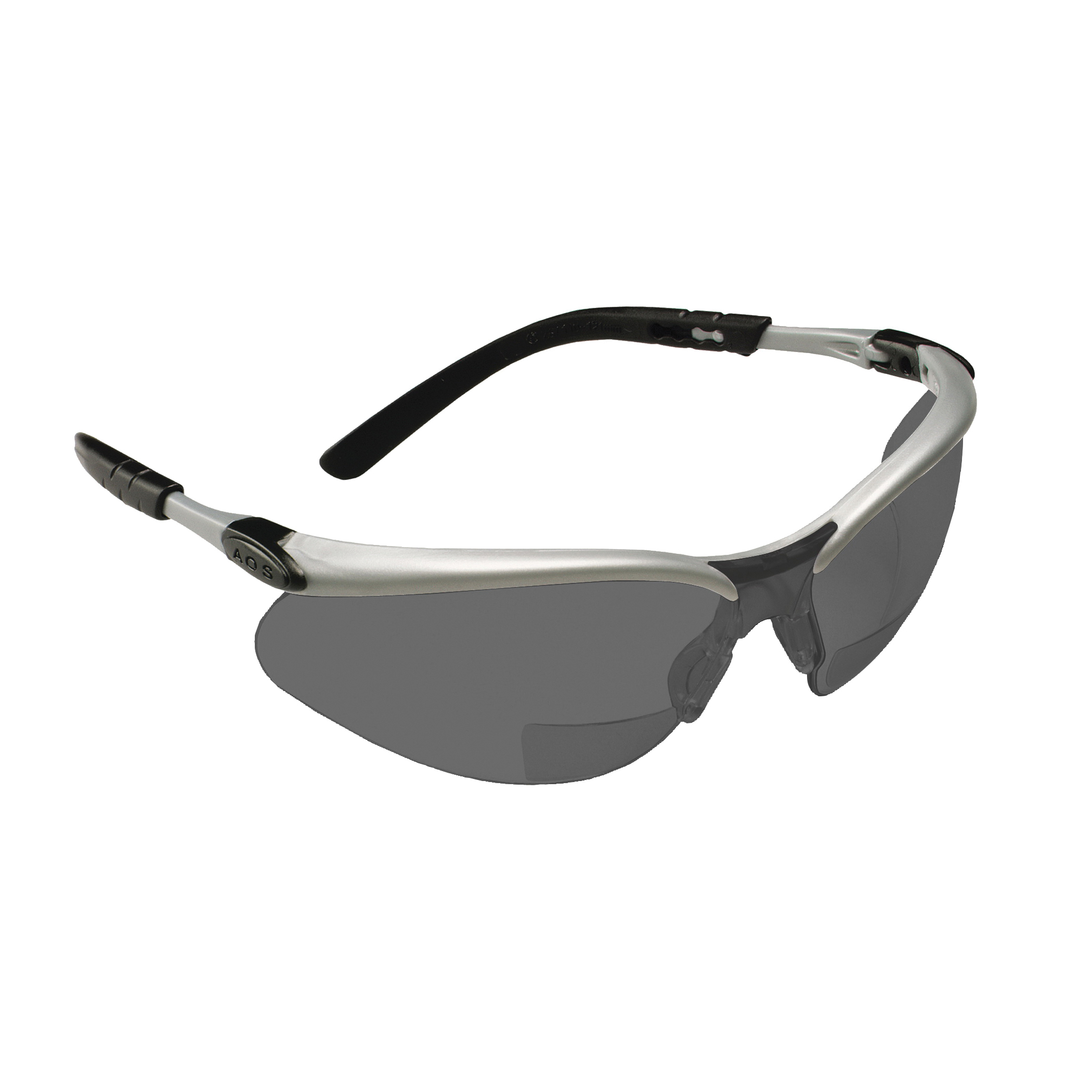 3M™ BX™ 078371-62051 11379-00000-20 Bi-Focal Lens Lightweight Reader Protective Eyewear, 2.5 Diopter, Gray Lens, Black/Silver Plastic Frame, Polycarbonate Lens, 99.9% UV Protection, Specifications Met: ANSI Z87.1-2015, CSA Z94.3-2007