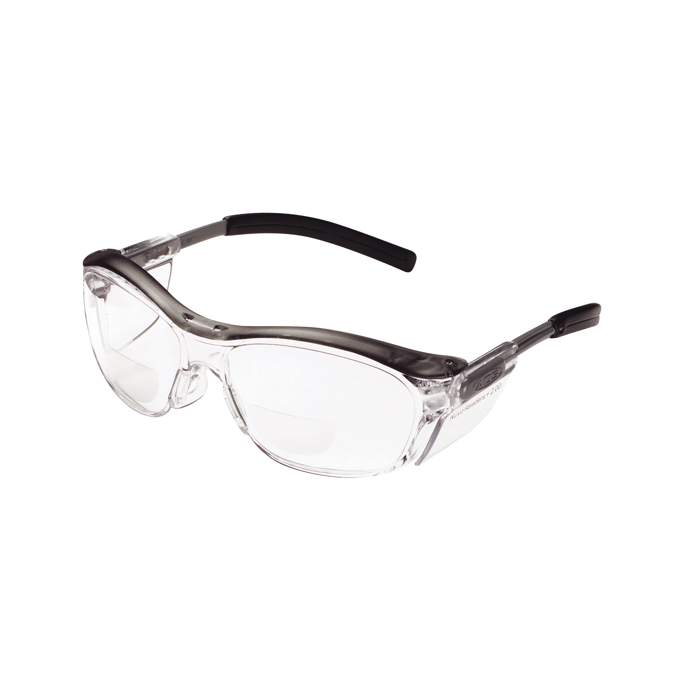 3M™ Nuvo™ 078371-62063 Bi-Focal Lens Lightweight Reader Protective Eyewear, 2 Diopter, Clear Lens, Gray, Plastic Frame, Polycarbonate Lens, 99.9 % UV Protection, ANSI Z87.1-2015, CSA Z94.3-2007