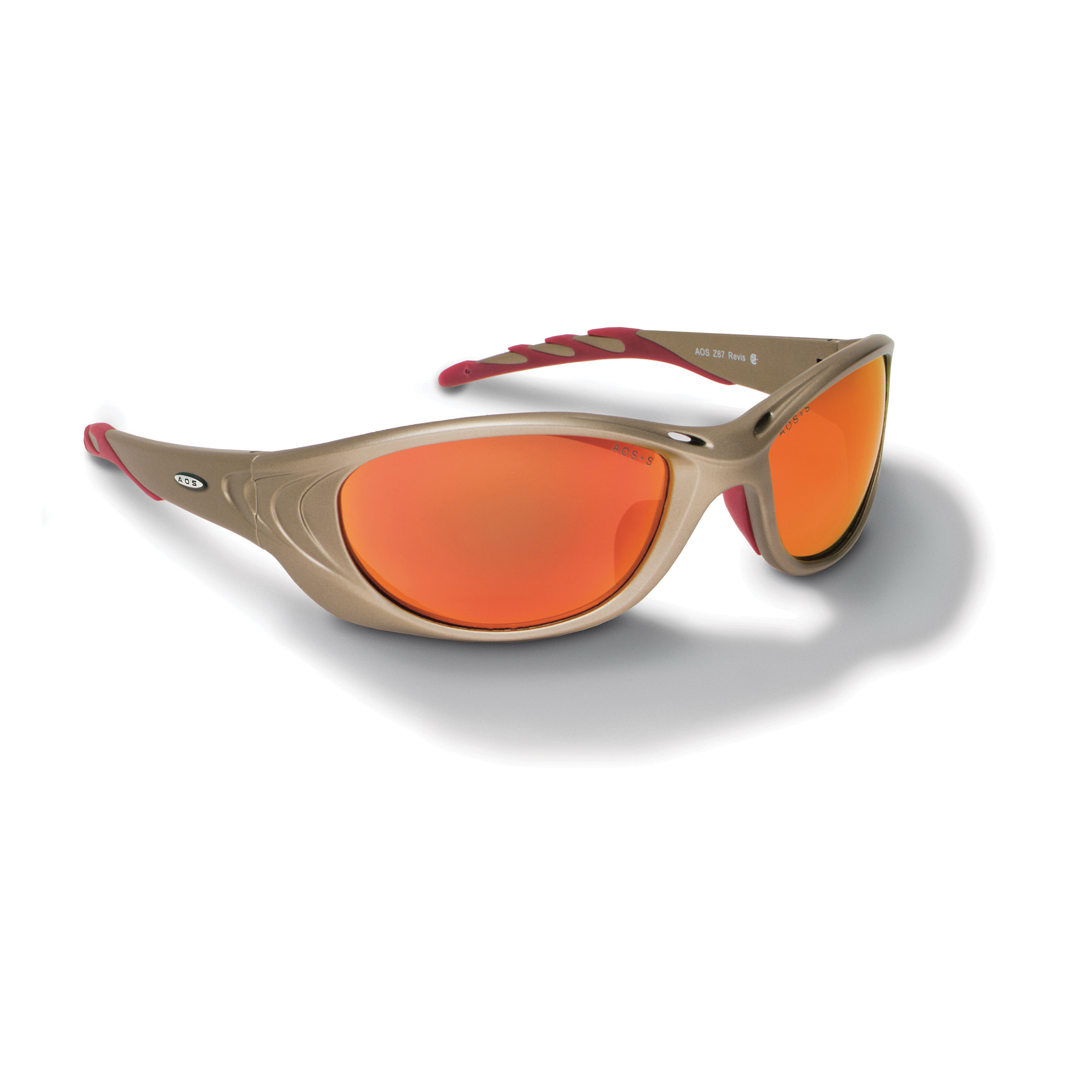 3M™ Fuel™ 078371-62153 11650-00000-10 2 Series Premium Protective Eyewear, Anti-Scratch Red Mirror Lens, Full Framed Metallic Sand Plastic Frame, Polycarbonate Lens, Specifications Met: ANSI Z87.1-2015, CSA Z94.3