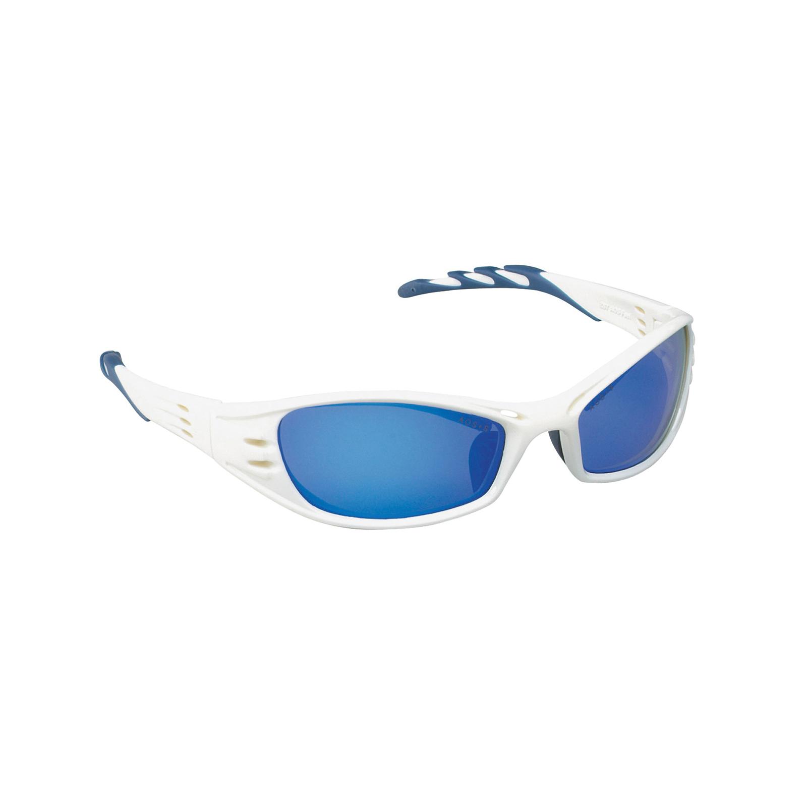 3M™ Fuel™ 078371-62159 Premium Protective Eyewear, Anti-Scratch, Blue Mirror Lens, Full Framed Frame, Glacier White, Plastic Frame, Polycarbonate Lens, ANSI Z87.1-2015