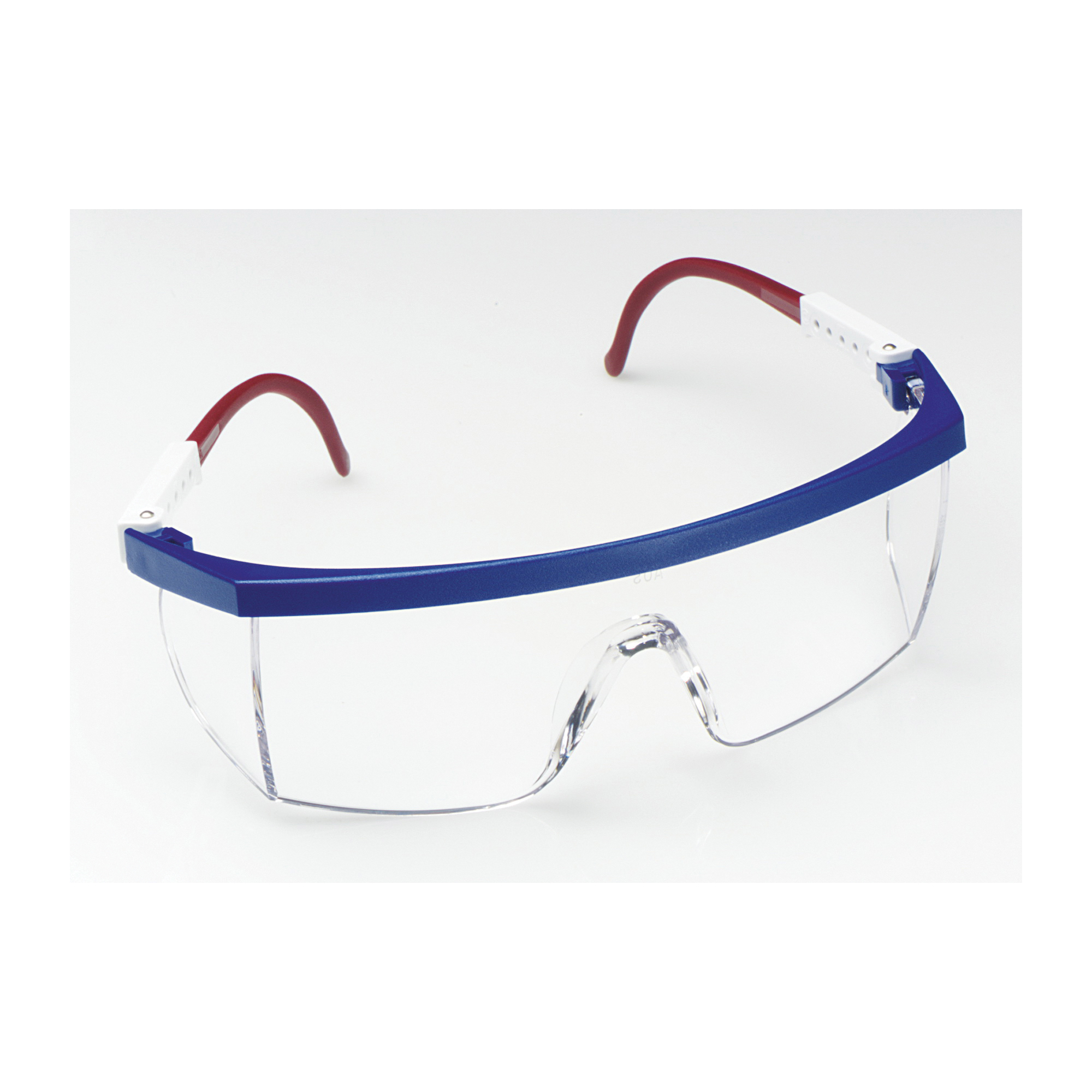 3M™ Nassau Plus™ 078371-62268 14327-00000-20 Economy Safety Glasses, DX™ Anti-Fog Clear Lens, Half Framed Blue/Red/White Nylon Frame, Polycarbonate Lens, Specifications Met: ANSI Z87.1-2015, Z87.1-2003 CSA Z94.3-2007