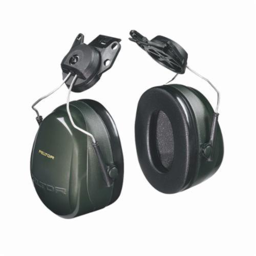 3M™ Peltor™ 093045-08073 Optime™ 101 Cap Mount Hard Hat Earmuffs, 24 dB Noise Reduction, Black/Green, ANSI S3.19-1974, CSA Class AL