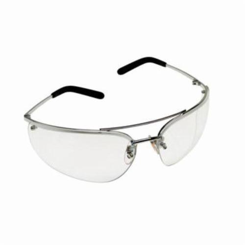 3M™ Metaliks™ 078371-62380 Protective Eyewear, Anti-Fog, Clear Lens, Half Framed Frame, Polished Metal, Metal Frame, Polycarbonate Lens, ANSI Z87.1-2015, CSA Z94.3