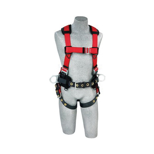 3M Protecta Fall Protection 1191208 Pro™ Construction Style Positioning Harness, S, 420 lb Load, Polyester Webbing Strap, Tongue Leg Strap Buckle, Stainless Steel Grommet/Steel Hardware, Red
