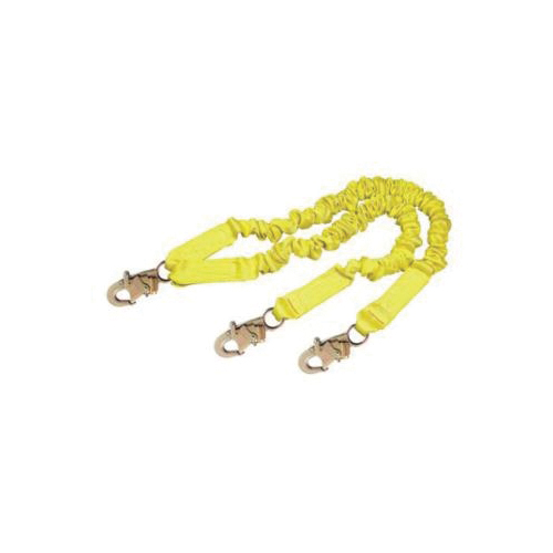 3M DBI-SALA Fall Protection 1244406 ShockWave™2 Arc Flash Elastic Tie-Off Variable Shock Absorbing Lanyard, 130 to 310 lb Load, 6 ft L, Polyester Webbing Line, 2 Legs, Snap Hook Anchorage Connection, Snap Hook Harness Connection Hook